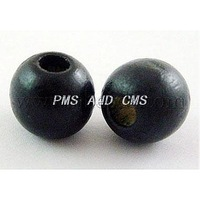 Dyed Wood Beads,  Round,  Nice for Children's Day Gift Making,  Lead Free,  Black,  Size: about 9mm in diameter,  hole: 3.5mm