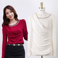 2014 Office Popular Design Women Blouse Fashion Tops Size S-2XL Korean Red Color Set Drill Lady Formal Chiffon Shirts