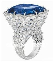 Authentic 925 silver inlaid Tanzania sapphire Mosaic female flower ring hollow