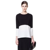 Free Shipping 2013 ZA Eurpoean Women Chiffon Shirt White&Black Hit Color  Blouse/Ladies Round Neck Long Sleeve Loose Top cs02