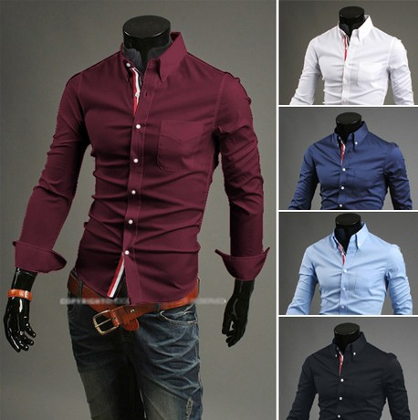 4013 free shipping Spring new men's casual shirts solid color decoration concise fashion long sleeve shirt men Clothing M-XXXL(China (Mainland))