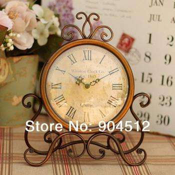 Hot sale European rural style Bronze gold wrought  iron desk clock good gift