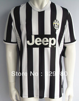 New 2013 2014 Top Thailand Quality Juventus Home Black y White Soccer Jersey,soccer Football uniforms free shipping, Size:S - XL