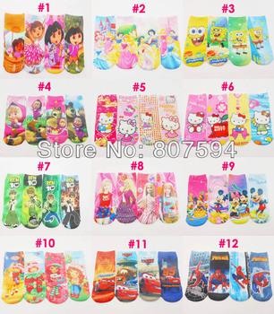 "8pairs/lot length18cm 7"" factory direct sale sock Little Red Riding Hood kids baby Frozen girls socks cartoon design selection"