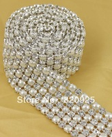 1yds 6 Rows Clear Crystal Rhinestone Mesh Faux Pearl Sewing Banding Wedding Trim