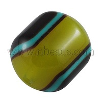 Resin Beads,  Dyed,  Column,  Green,  24mm long,  20mm wide,  hole: 3mm