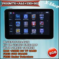 X-SHOP S900MTK+A6S+S50+8G Bluetooth GPS navigation & RADAR DETECTOR & Sun Shade ,speedcam,TTS Russia/Belarus/Ukraine/Brazil