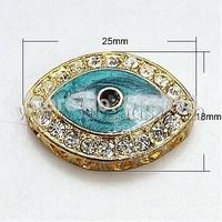 Alloy Rhinestone Beads,  with Enamel,  Grade A,  Eye,  DarkTurquoise,  25x18x6.5mm,  Hole: 2mm