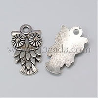 Tibetan Style Pendants,  Lead Free and Nickel Free,  Halloween,  Owl,  Antique Silver,  20x11x3mm,  Hole: 2mm
