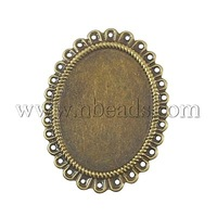 Stock Deals Iron Cabochon Setting,  Oval,  Antique Bronze,  54x41x1mm,  Hole: 1.5mm; Tray: 40x30mm