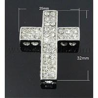 Zinc Alloy Rhinestone Beads,  Grade A,  Cross,  Platinum Color,  White,  32x25x7mm,  Hole: 2mm