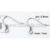 Stock Deals Brass Earring Hooks,  Silver,  15mm wide,  Pin: 0.6mm,  Hole: 1mm