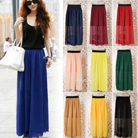 New Retro Vintage Womens Elastic Waist Chiffon Pleated Long Maxi Skirt