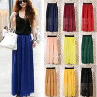 New Retro Vintage Womens Elastic Waist Chiffon Pleated Long Maxi Skirt