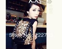 Free   women  hot sale clutch Korean fashion button diamond tassel double shoulder Retro black white leather handbag 009