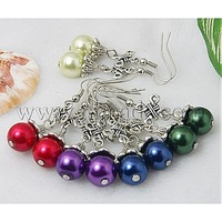 Stock Deals Fashion Earrings,  with Glass Pearl Beads,  Tibetan Style Beads and Brass Earring Hooks,  Mixed Color,  45mm