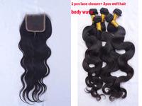 Luvin 1Pcs lace closure with 3 bundles weft hair 4pcs/lot Body Wave Grade 5A Liweike unprocessed virgin brazilian hair closure