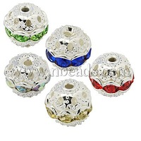 Stock Deals Brass Rhinestone Beads,  Grade A,  Silver Metal Color,  Round,  Mixed Color,  8mm