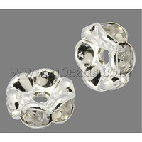 Stock Deals Brass Rhinestone Beads,  Grade AAA,  Wavy Edge,  Nickel Free,  Silver Metal Color,  Rondelle,  Crystal,  8x3.8mm