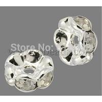 Brass Rhinestone Beads,  Grade AAA,  Wavy Edge,  Nickel Free,  Silver Metal Color,  Rondelle,  Crystal,  6x3mm,  Hole: 1mm
