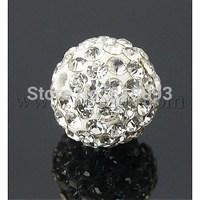 Polymer Clay Rhinestone Beads,  Grade A,  Crystal,  8mm,  Hole: 1.5mm