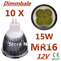 10pcs/lot Dimmable LED High power MR16 5x3W 15W led Light led Lamp led Downlight led bulb spotlight Free shipping