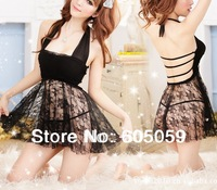 J6J UL016 sexy lingerie lace baby dolls sexy dress women sleepwear backless Dress G-string cotton spandex touch good wholesale