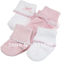 4pair /lot Free Shipping USA Luvable Friends Ribbed Cuff Baby Girl Socks 4-Pack ,0-36 months