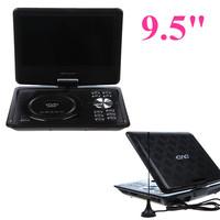 Free Shipping EVD player 9.5 Inch Screen Portable DVD PLAYER 270Degree Rotating GAME Analog TV CD MP4,USB/SD Player dvd portatil