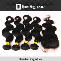 Cheapest FREE SHIPPING 4 bundles Weave on Brazilian Virgin WEFT Hair Body Wave with lace closure  Free part BLEACHED KNOTS