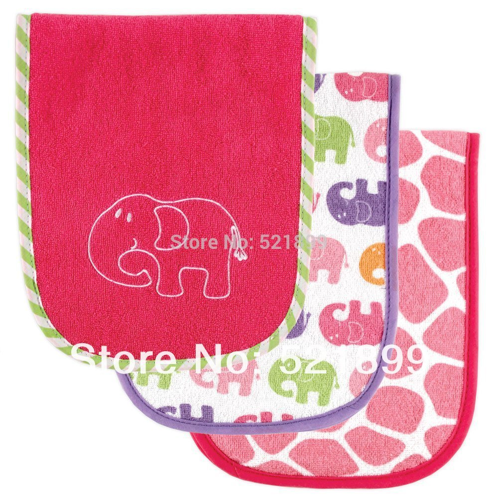 3pcs/lot Free Shipping USA Luvable Friends 3 Count Safari Themed Baby Burp Cloths, Baby bib Pink(China (Mainland))