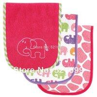 3pcs/lot Free Shipping USA Luvable Friends 3 Count Safari Themed Baby Burp Cloths, Baby bib Pink