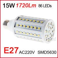 Free shipping Factory directsale high quality 220V 15W 18W E27 1632LM 102 SMD 5050 LED Corn Light LED Bulb Lamp Warm Pure  White