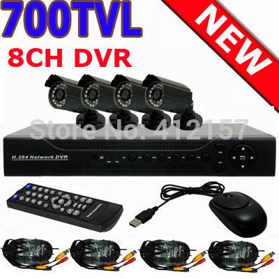 Home 700TVL 4CH CCTV Security Camera System 8CH DVR 700TVL Outdoor Day Night IR Camera DIY Kit Color Video Surveillance System(China (Mainland))