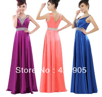 Evening Formal Sleeveless Ruched Prom Long Dress Satin Sequined V neck Size 4-16 Empire 00007 Red Purple Blue