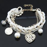 New Fashion Imitation Gemstone jewelry Heart Braided Bracelet Multilayers charm Pearl bracelets bangles For Women
