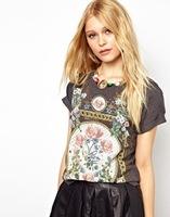 2014 new arrival women's clothing tops cotton t shirts print novelty europe design punk Tops blusas femininas