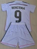 Real Madrid home white BENZEMA #9 2014-2015 kids boy soccer jersey sets(jerseys+shorts),RONALDO #7 children soccer uniforms