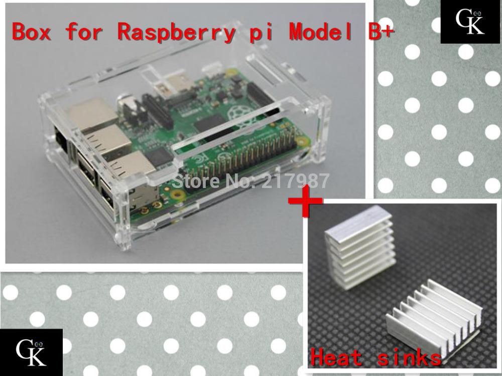 Pi case with 2 pcs pure aluminum heat sink for raspberry pi model b plus & raspberry pi 2 pi box(China (Mainland))