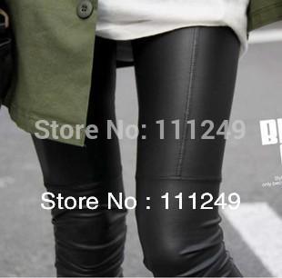 HOT! New arrival 2014 leather patchwork legging super repair ankle length trousers faux leather pants warm leggings plus velvet
