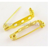 Iron Pin Backs,  Golden,  27mm long,  5mm wide,  7mm thick,  hole: about 2mm