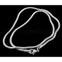 Brass European Style Necklace with Brass Clasp,  Lobster Claw Clasp,  Platinum Color,  about 45cm long,  3mm thick,  2mm hole