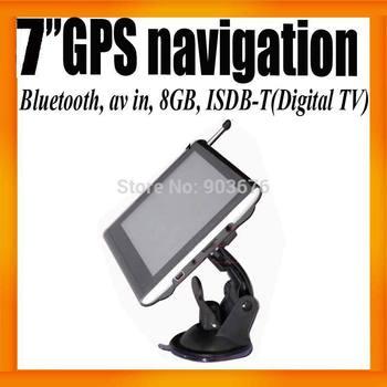 "7""HD Car GPS Navigation Dashboard+ISDB-T+Digital TV+Bluetooth+AV IN+FMT+8GB Card +800X480 Free Map Preinstalled 40pcs/lot"