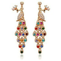 Wholesale Fashion Jewelry 18K Gold Plated Retro Peacock Austrian Crystal Drop Long Earrings for Women Colorful Rhinestoness