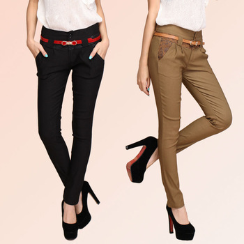 2014Fashion Corea women's slim spliced printed elastic pencil pants harem trousers elegance pants XM3042