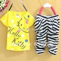 Free Shipping New 2014 Summer Cartoon Hello Kitty Children Clothing Sets Short Sleeve Baby Girl's Clothing Set Children Sets