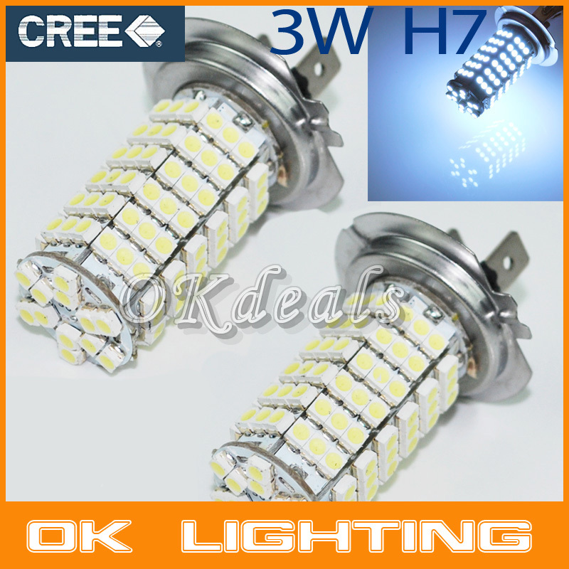 Free Shipping 2x Car Auto 120 LED 3528 SMD 12V H7 Base Xenon White Fog Driving Head Light Lamp Bulb(China (Mainland))