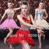 Hot 2014 Summer New Sequins Stages Nightclub Bar Lady DS Costumes Pole Dance Latin Women Dance Dress, Tassel Prom Dresses 307