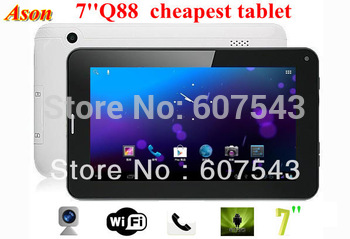 7''Q88 a13 cheapest tablet pc with phone call function Android 4.0 512MB RAM 4GB ROM wifi/sim card slot Dual cameras
