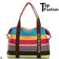 2013 Newest  Brand Design fashion Striped canvas women summer beach handbags shoulder bag messenger travel bags  Free Shipping